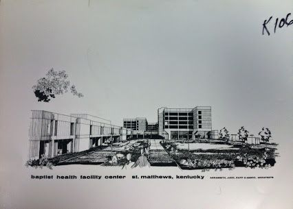 drawing of Baptist Health Louisville (formerly Baptist Hospital East) in St.Matthews