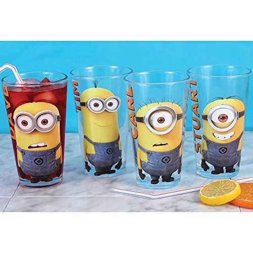 set 4 despicable me 2 minions glass set with dave tim carl and