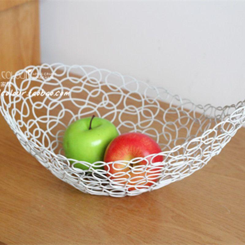 Superior Home Decoration Bandeja Plate Fruit Storage Basket Tepsi Iron Wire Fruit  Tray Serving Tray Fruteira Kitchen