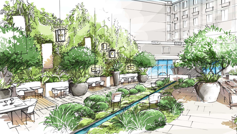 hotel des halles loup co landscape design rendering pinterest sketches landscaping and. Black Bedroom Furniture Sets. Home Design Ideas