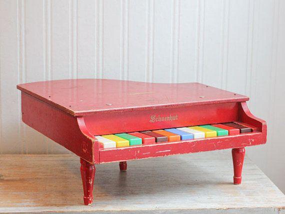 Schoenhut Piano, Toy Piano, Kids Piano, Baby Grand Piano, Little Piano, Red, Rainbow Keys, Mid Century Toy, Set Design, Musical, 1950s