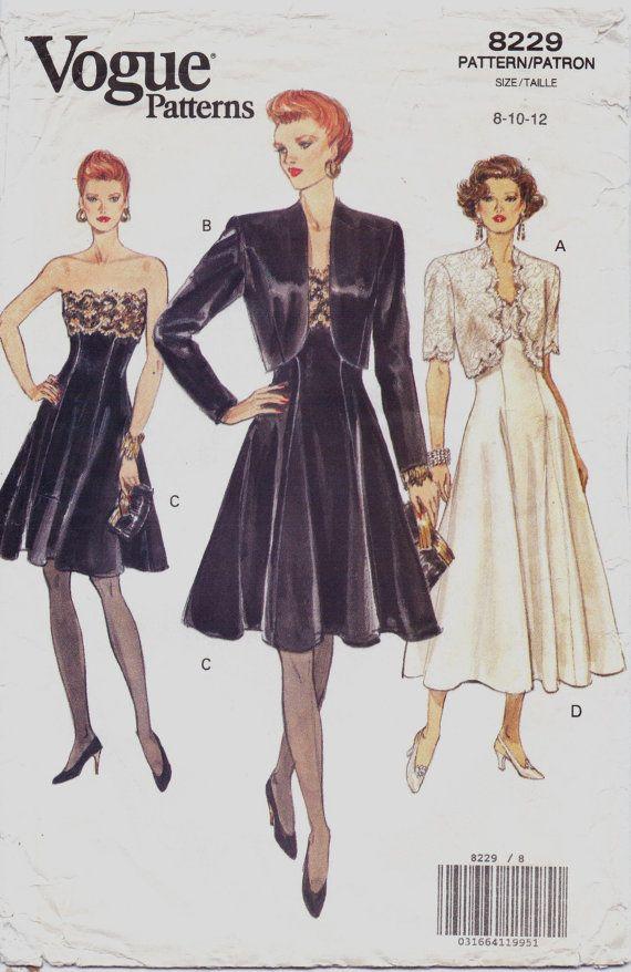 90s Vogue Pattern 8229 Womens Bolero Jacket And By Cloescloset