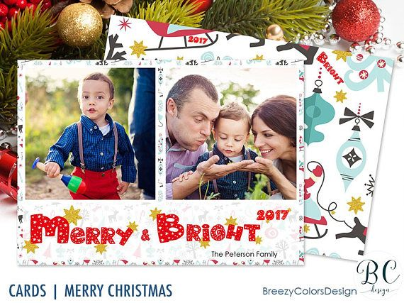 Photo Christmas Cards Template X Mas Greeting Collage 2 Pictures Merry And Bright Layout I Happy Holiday Cards Christmas Card Template Christmas Photo Cards