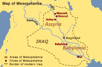 Map of Mesopotamia: In Greek, Mesopotamia means \'land between the ...