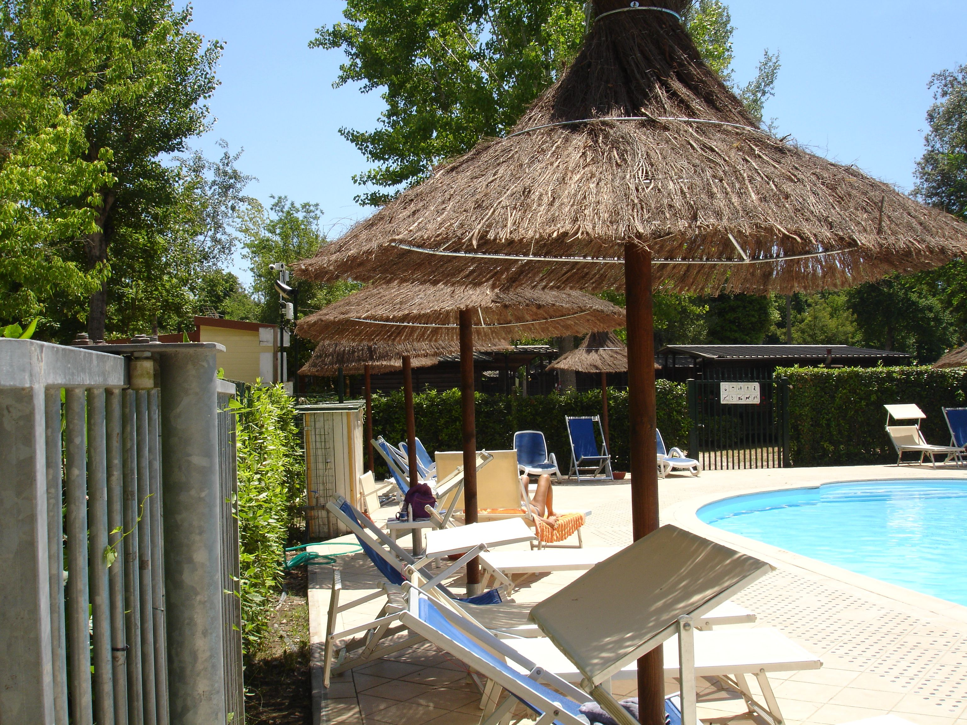 Relaxen onder de nieuwe parasols bij het zwembad van Camping Bosco Verde