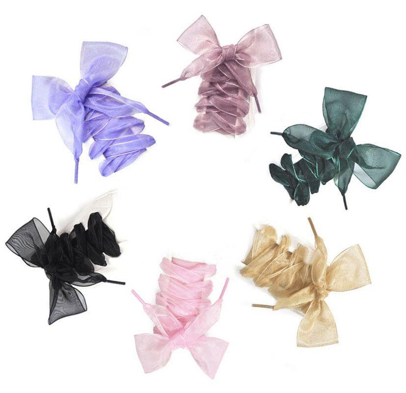 fb455a2c1320b0 4Cm Shoelaces Flat Silk Satin Ribbon Sport Shoes Laces Sneakers Shoestrings  Bow