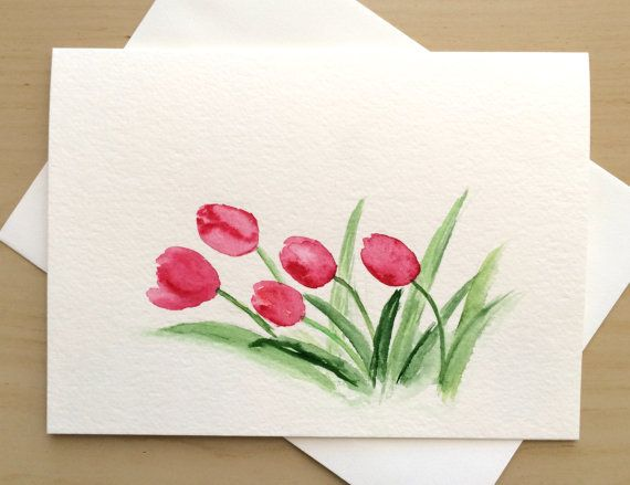 Hand Painted Greeting Card 5x7 Red Tulips Blank By Cardwithheart