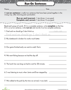 Work On Writing Run On Sentences Worksheet Education Com Writing Mini Lessons Run On Sentences Teaching Writing