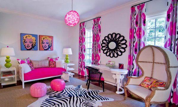 Bright Pink Bedroom with Black Wall Artwork Girls Bedroom ...