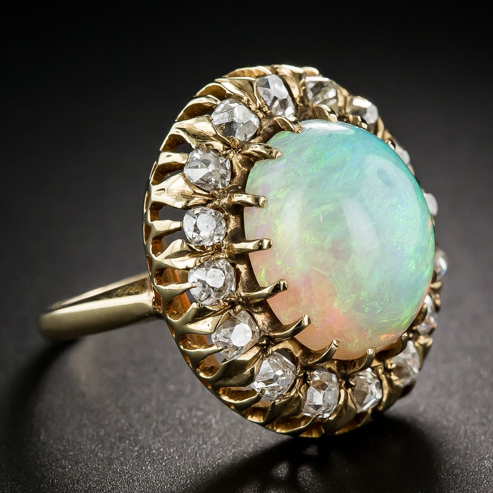 Victorian Opal and Diamond Ring - 30-1-738 - Lang Antiques