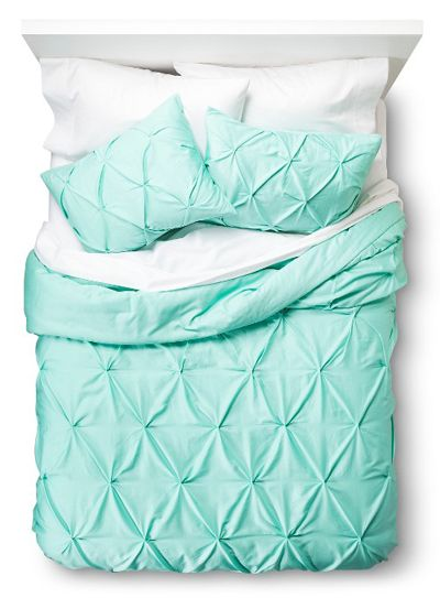 Pinched Pleat Comforter Set Tiffany Blue Bedroom