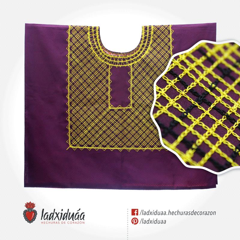 Huipil sencillo guinda, con tejido de cadenilla en hilos amarillo y negro.