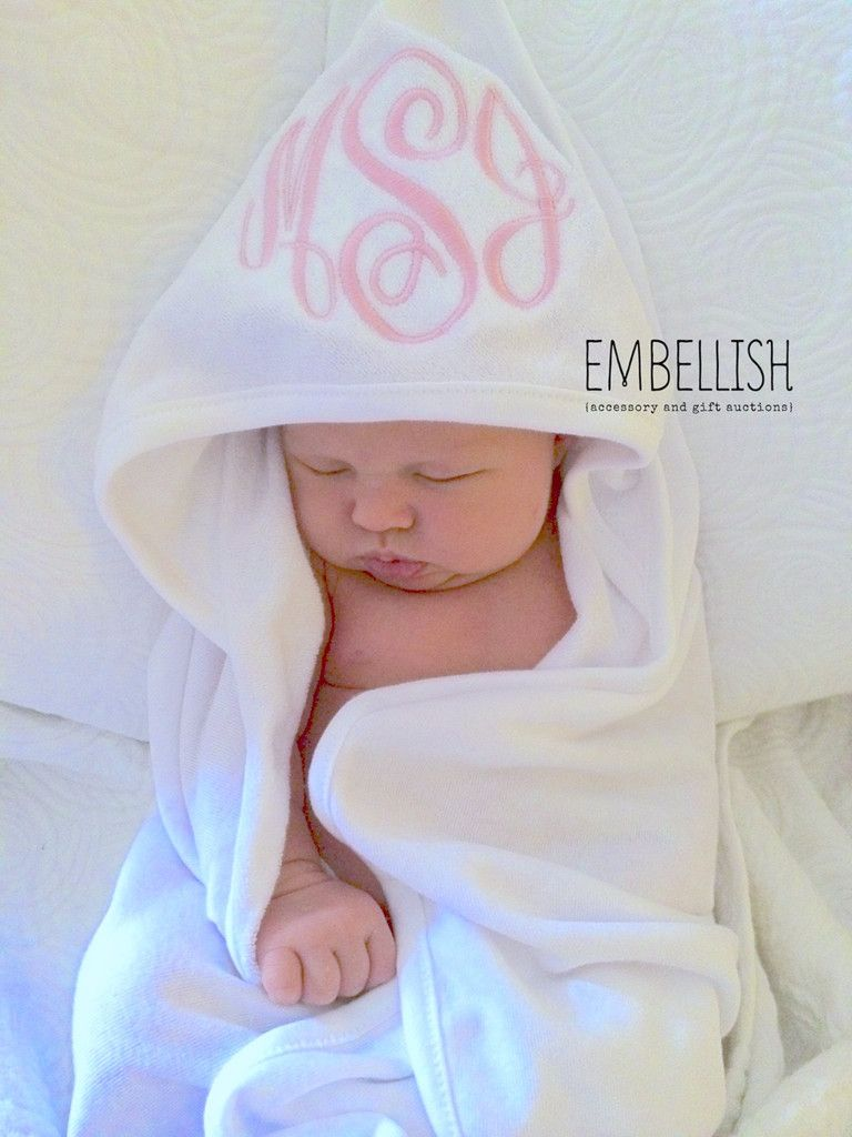 monogrammed infant hooded towel  oh my goodness  that is so adorable  i must do this