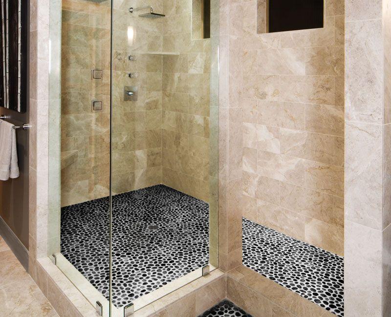 Charcoal Black Pebble Tile Pebble mosaic, Shower floor