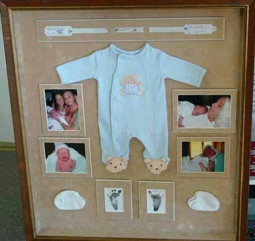 Collect babies first day memories in a picture frame.   DIY&Crafts ...