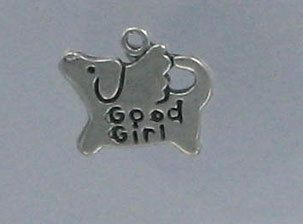 Sterling Silver Good Girl Dog Charm
