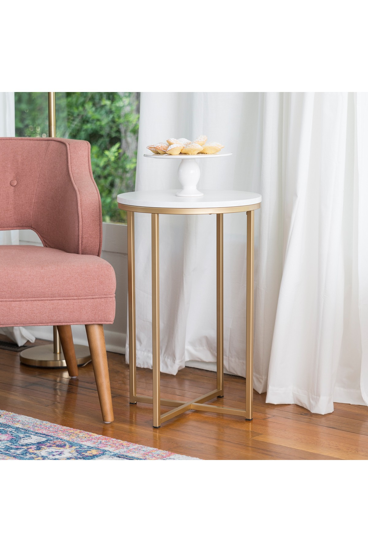 """16"""" Round Marble Gold Side Table by Walker Edison Furniture pany"""