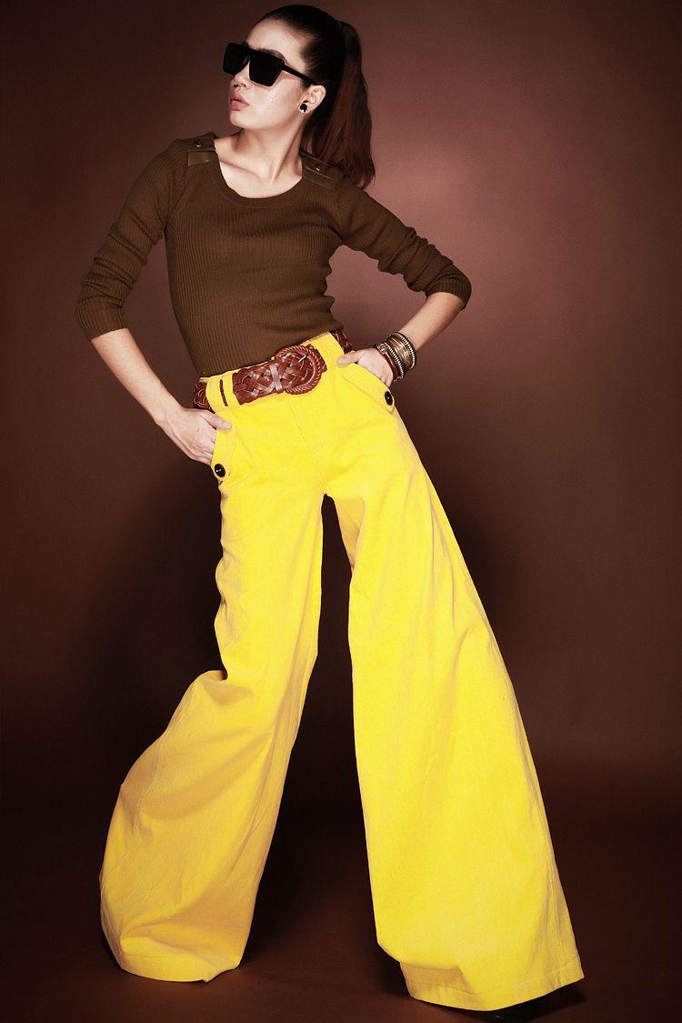 2012 spring autumn XXL fashion designer women's culottes yellow ...
