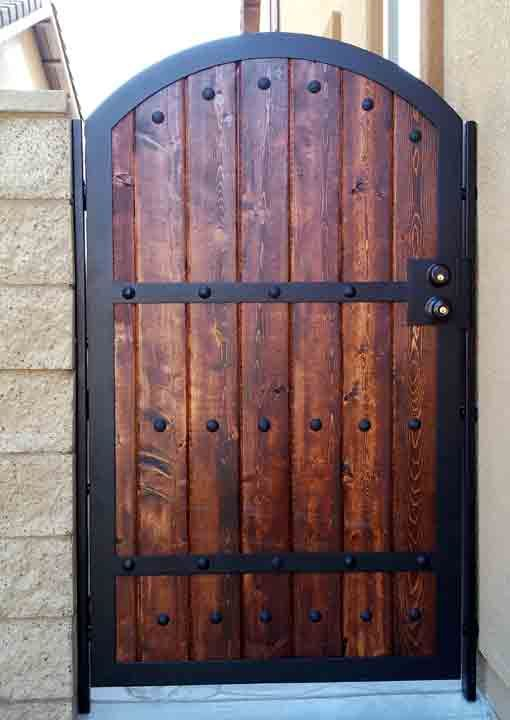 wood iron gates iron   wood combination gate designs