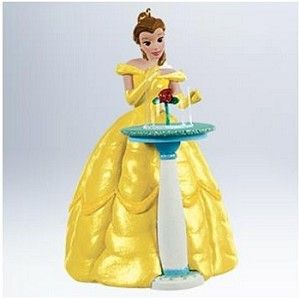 Belle and the magic rose form the basis of this ornament.
