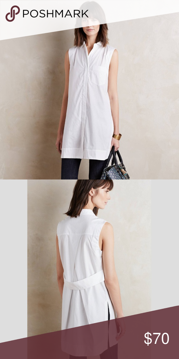 254ab3d68 {Anthro} Maeve White Sleeveless Buttondown Tunic Maeve from Anthropologie  crisp white Tunic adds contemporary