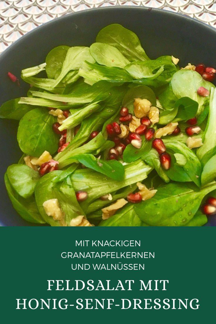 Feldsalat mit Granatapfel und Senf-Balsamico-Dressing: ein schneller Wintersalat
