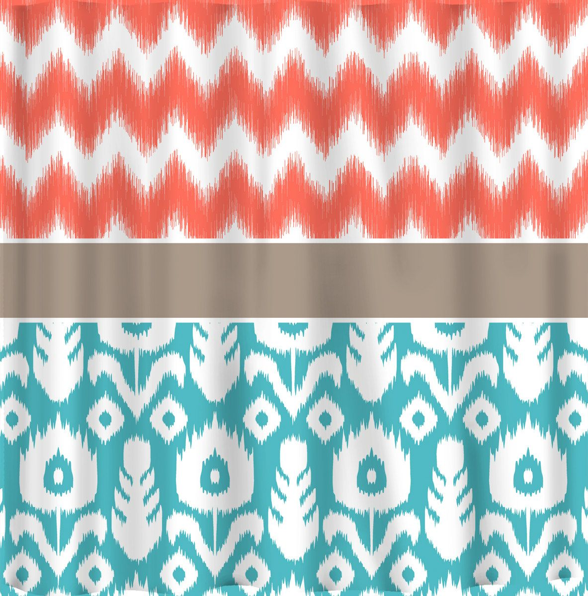 Custom IKAT Chevron Shower Curtain   Any Color   shown Coral Chev Ikat and  Turquoise IkatCustom IKAT Chevron Shower Curtain   Any Color   shown Coral Chev  . Turquoise Chevron Shower Curtain. Home Design Ideas