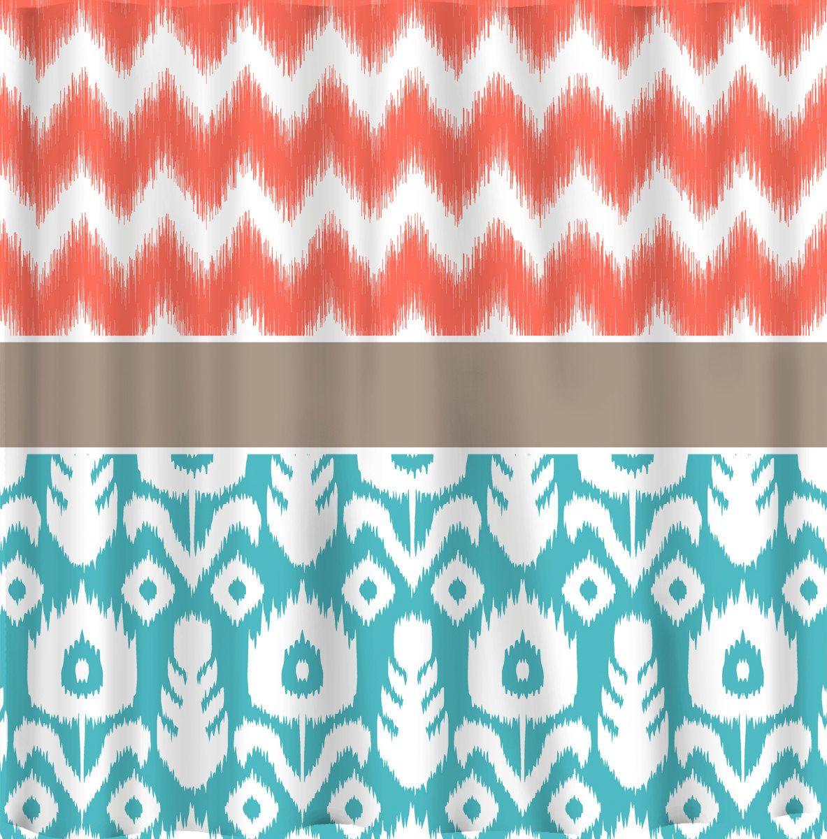Aqua chevron shower curtain - Turquoise And Orange Shower Curtain 17 Best Images About Shower Curtains On Pinterest Chevron Shower