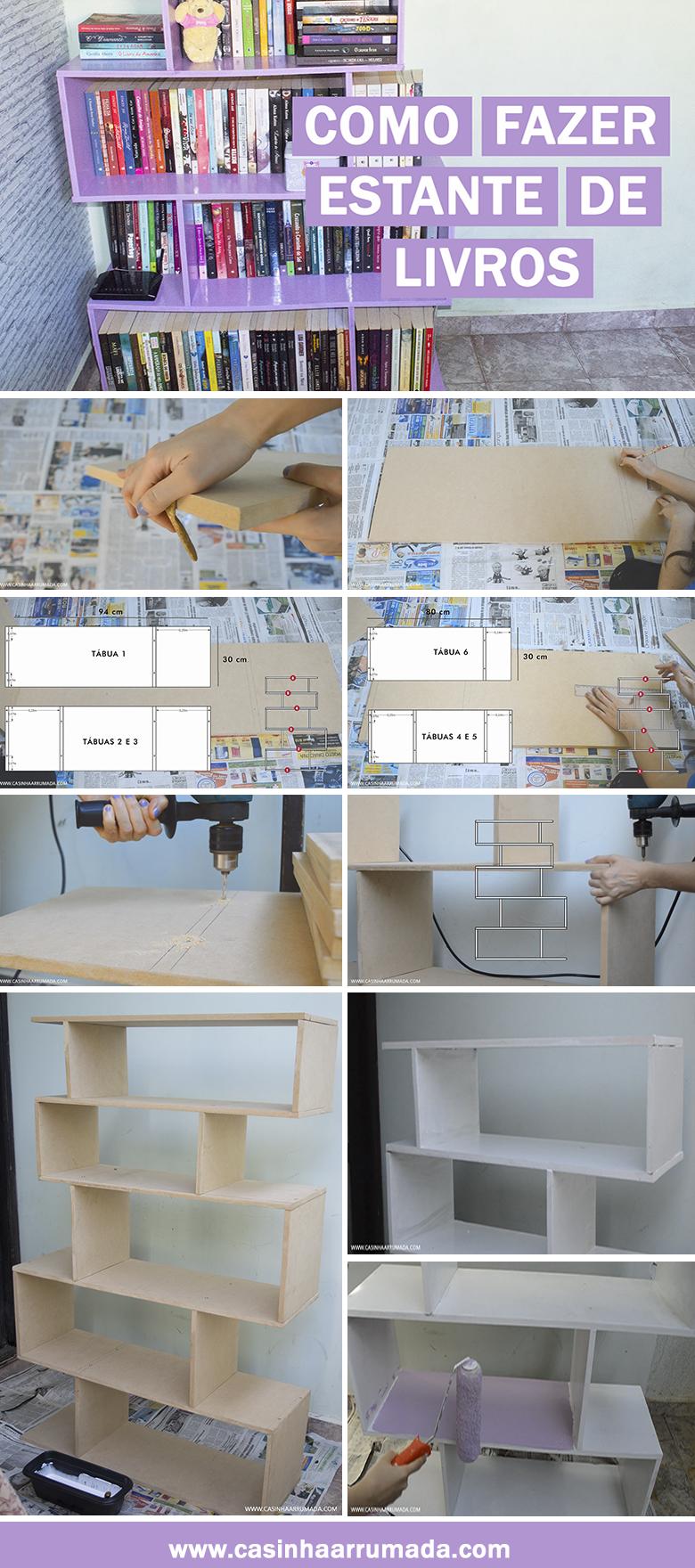 DIY - Como fazer estante de livros gastando pouco   Organizadores ...