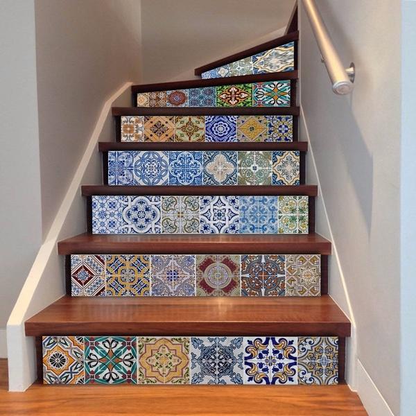 New Fashion 18x100cm 6pcs Self Adhesive 3d Staircase Stickers Diy