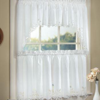 Battenburg Floral Tier Swag Kitchen Window Curtains Kitchen Curtains Small Window Curtains Curtains