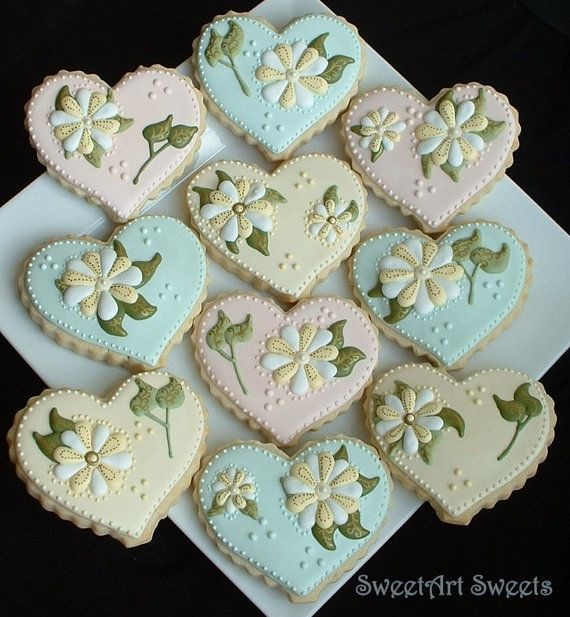Pastel Flower and Heart Cookies - 1 dozen cookies by SweetArtSweets Gorgeous!