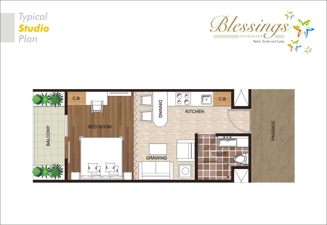 Elegant studio apartments plans residential plan for Plan apartment
