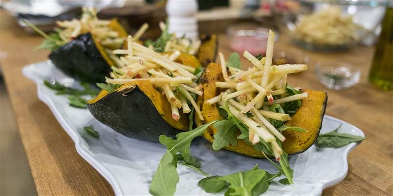 Roasted Buttercup Squash With Apple Slaw Recipe Buttercup Squash Apple Slaw Veggie Recipes