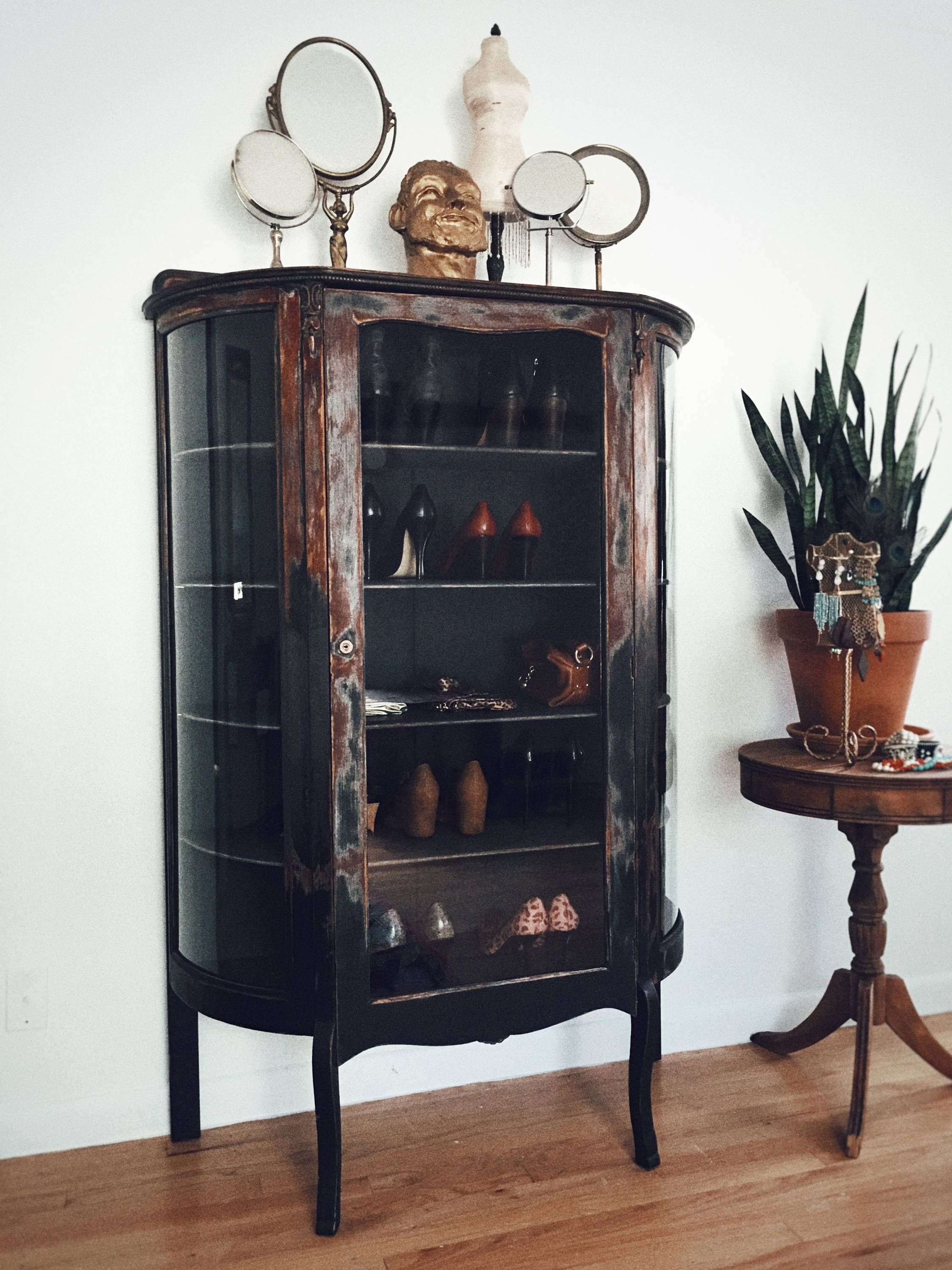 Antique Larkin Curio Cabinet By Eclecticgypsyheart On Etsy Upcycled Furniture China Cabinets Vintage Home
