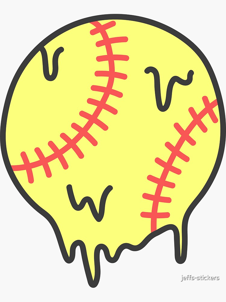 Softball Drip Sticker By Jeffs Stickers Dripping Paint Art Iphone Homescreen Wallpaper Cute Cartoon Drawings
