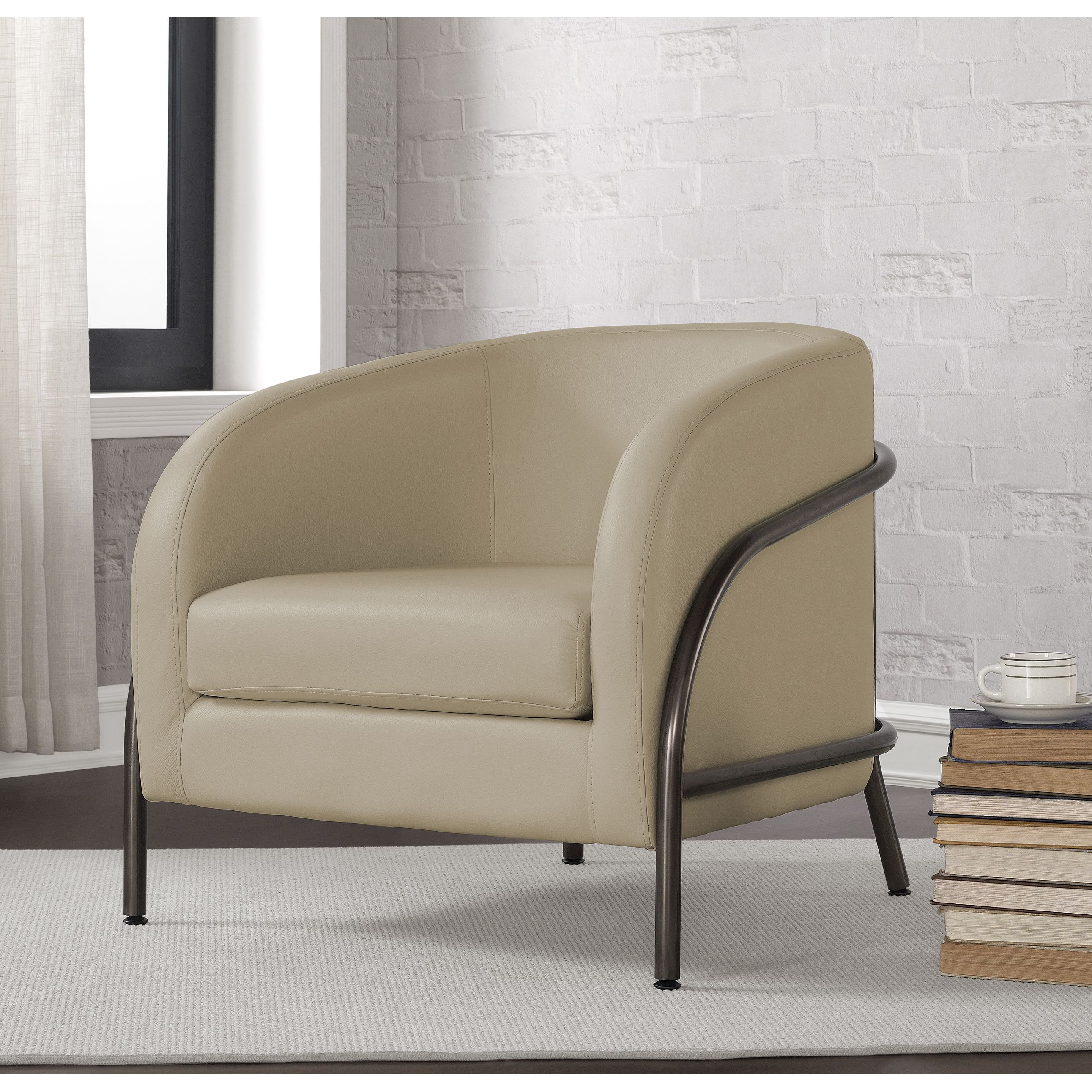 Finished in a lovely creme color, this bonded leather chair is perfect for any corner of your home. Made to last, it has a sturdy outer metal frame with a vintage finish and adjustable foot glides.