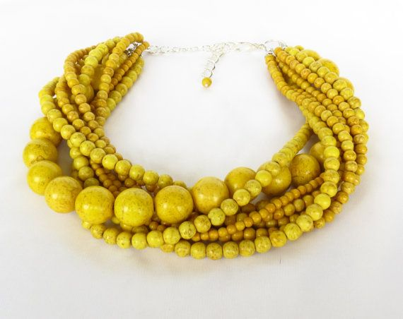 Chunky Dijon Mustard Yellow Bridal Jewelry - Yellow Turquoise Statement Necklace - Mustard Yellow Bridesmaid - MORE COLORS AVAILABLE