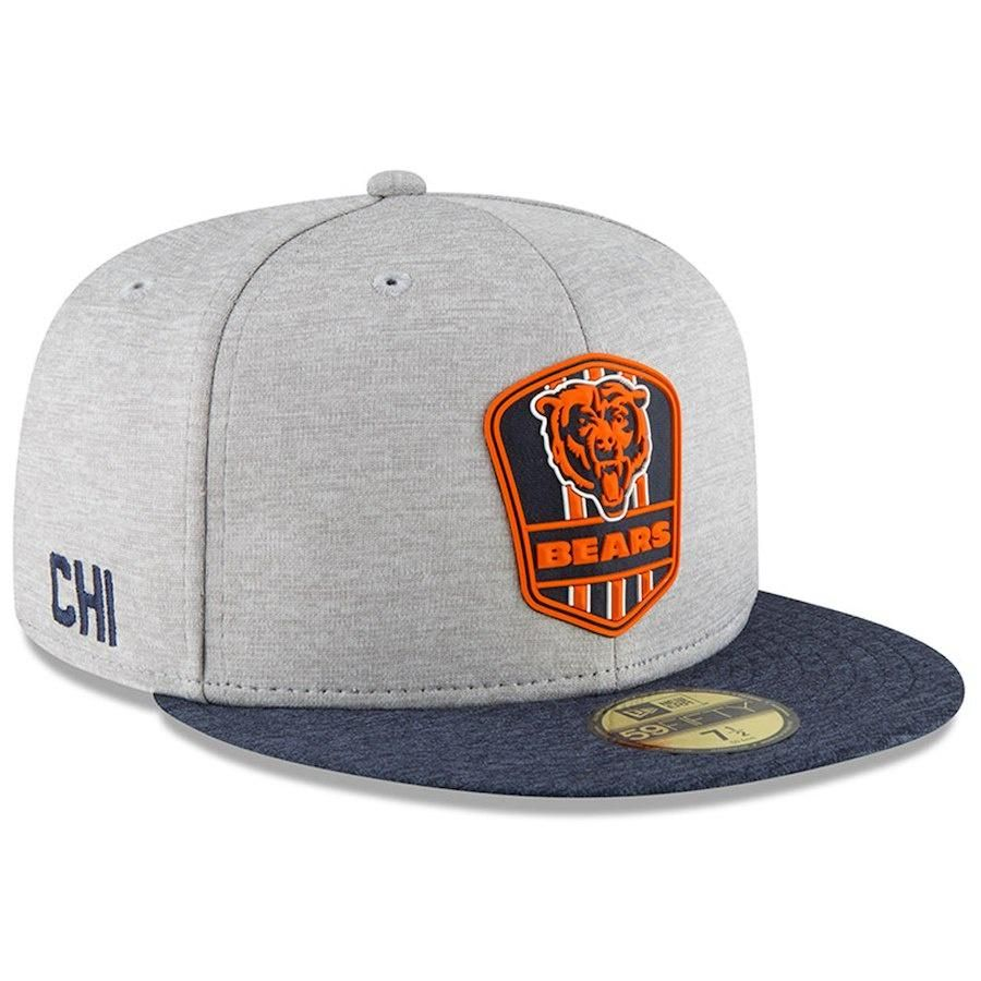 brand new 10373 ade3e Men s Chicago Bears New Era Heather Gray Navy 2018 NFL Sideline Road  Official 59FIFTY Fitted