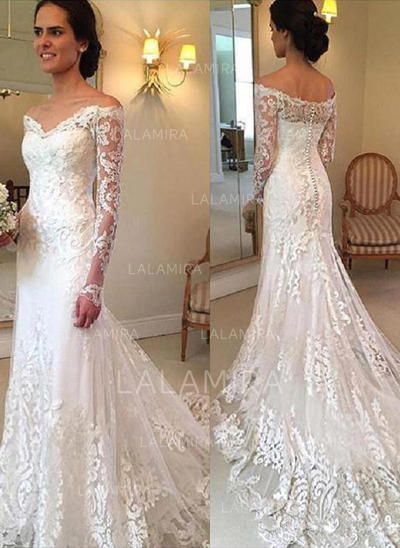 c61acf4e5a755 Lace Appliques Trumpet/Mermaid With Simple Tulle Wedding Dresses ...
