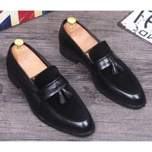 74d2281779a91 Handmade Black Suede Moccasin Slipper Tussle Leather Dress Formal Office  Shoes - Dress/Formal