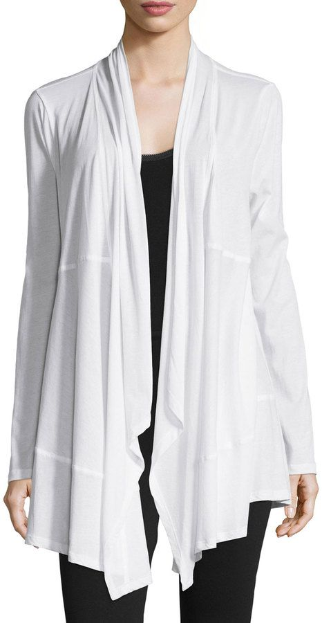 Draped-Front Long-Sleeve Wrap Cardigan. What a fantastic look.