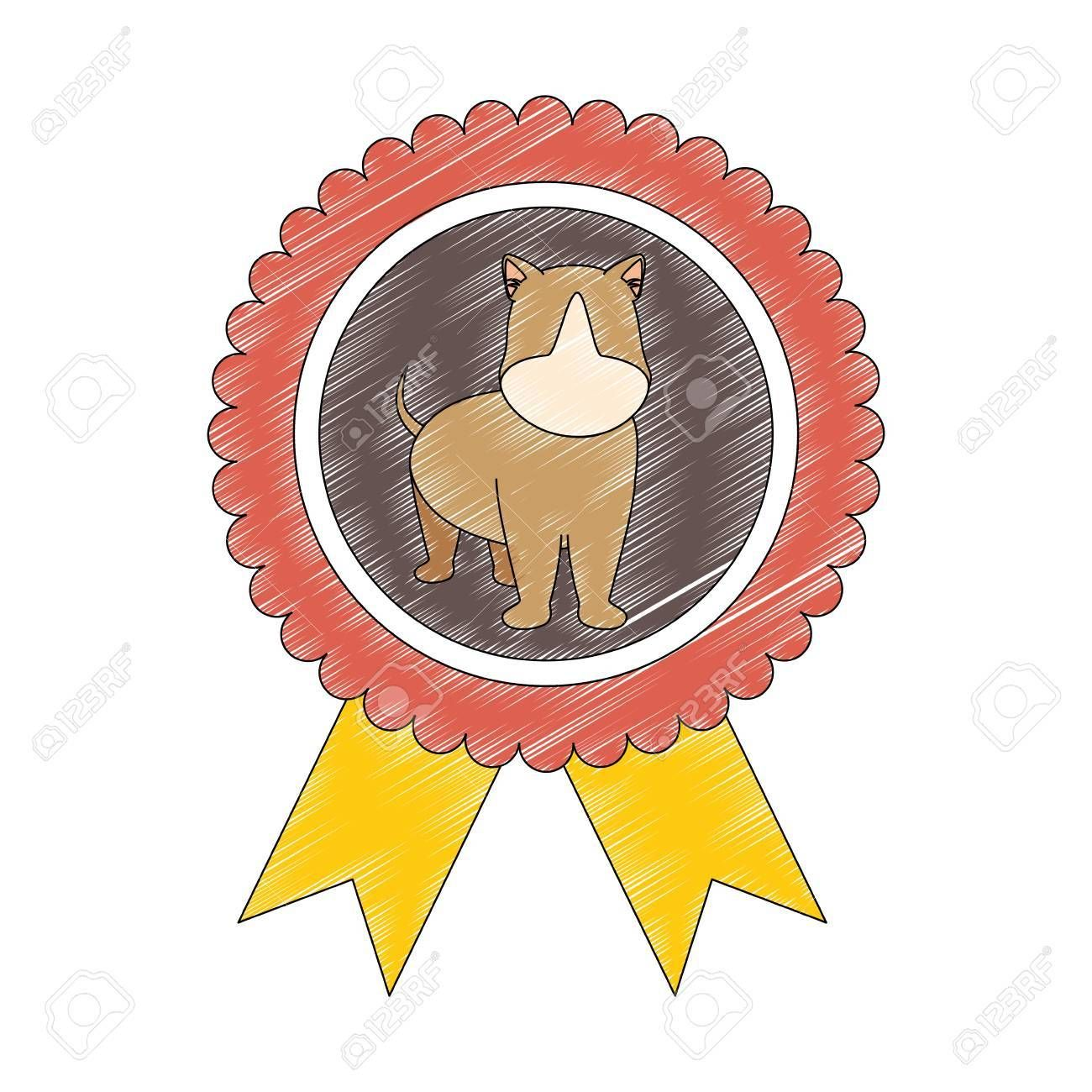 medal with dog icon over white background colorful design vector illustration