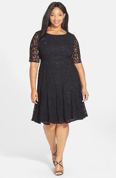 Adrianna Papell Lace Fit Amp Flare Dress Plus Size In 2019