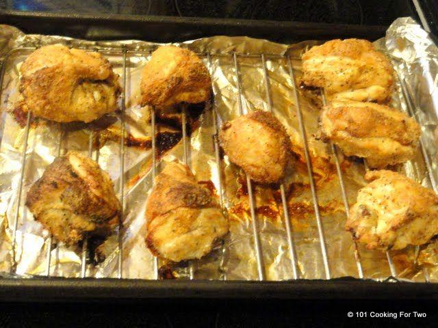 Oven Baked Crispy Garlic Bone In Skin On Split Chicken Breast
