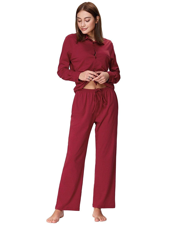 aac4424bc4 Women s Cotton Pajama Set Long Button Down Sleepwear With Pants - Wine Red  - C7188KAEI70
