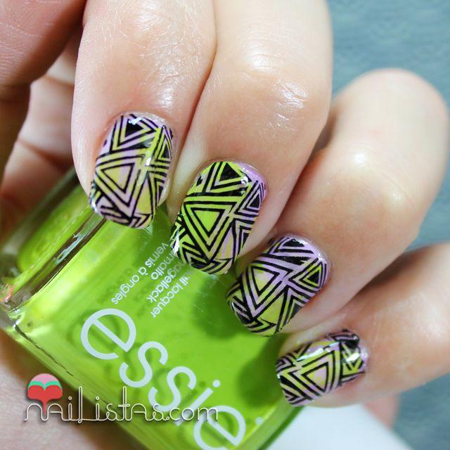 Uñas decoradas con triángulos | Calcomanías al agua | Nails ...