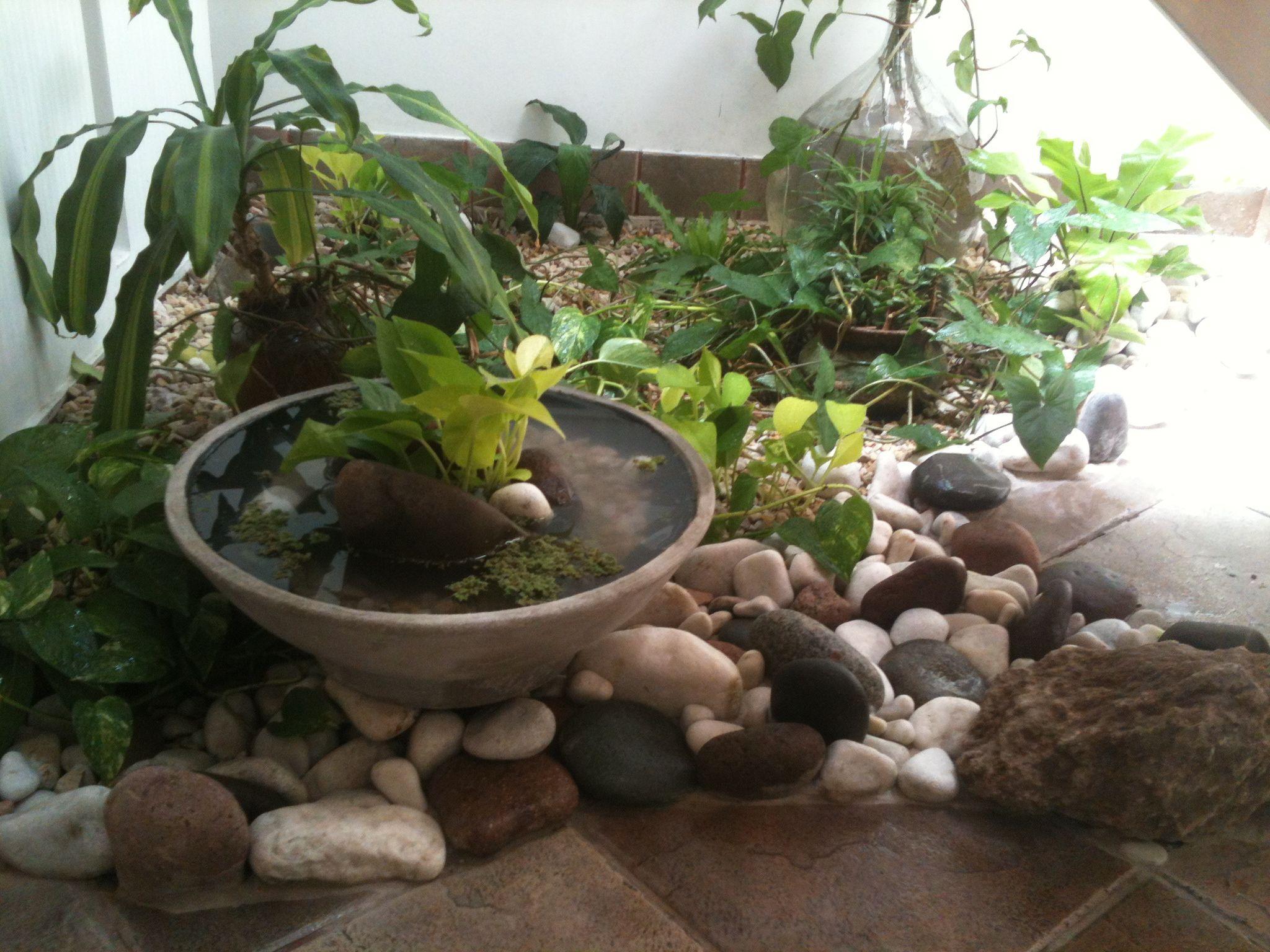 Dise o de espacios inertes bajo escalera utilizando - Decoracion de jardines con piedras ...