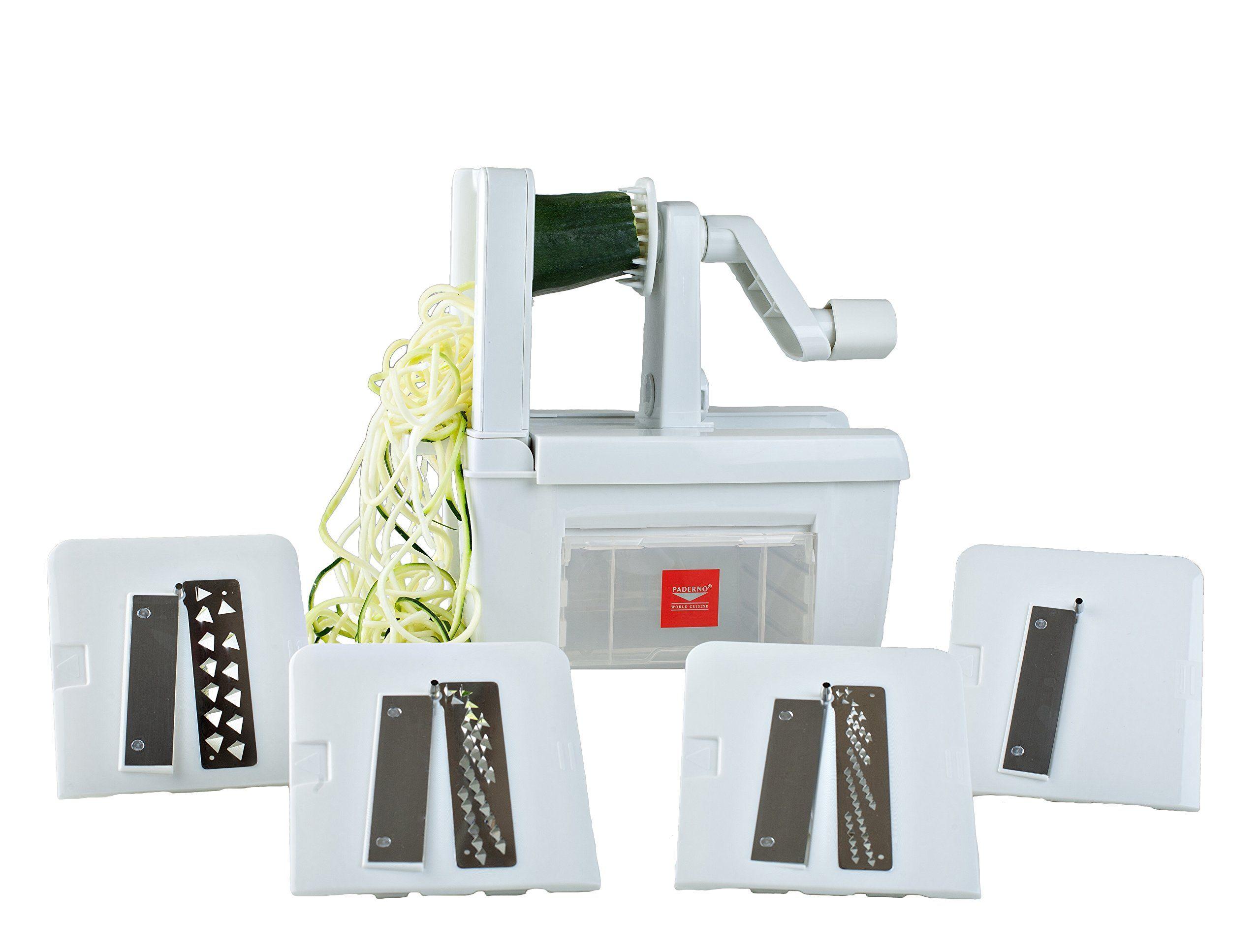 Paderno world cuisine 4 blade spiralizer free - Paderno world cuisine spiral vegetable slicer ...