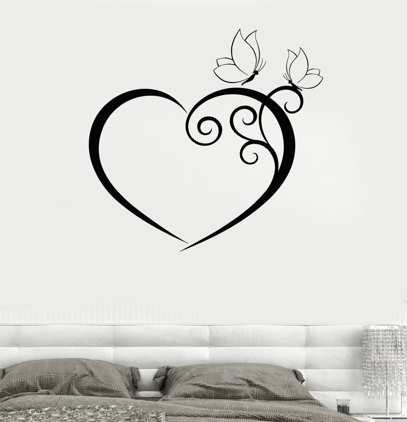 Love Wall Sticker Valentines Heart Decal Faces Vinyl Bedroom Stencil Gift